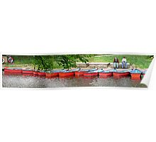 Pretty rowing boats, all in a row. Poster