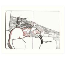 Kitten Sittin' with George Art Print