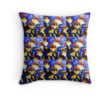 Emu family tiled Throw Pillow