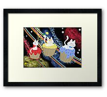Space Cupcake Kittens Framed Print