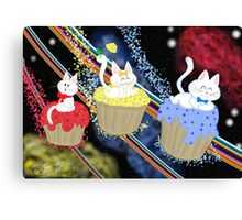 Space Cupcake Kittens Canvas Print
