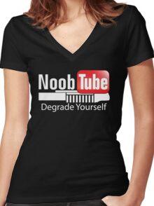 Noob Tube Women's Fitted V-Neck T-Shirt