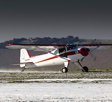 Luscombe on a snowy runway by Tony Roddam