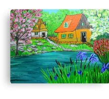 Cottages in the  Garden  Canvas Print