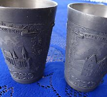 Tin Beakers showing the Gothic Church and the Gothic Town Hall of Oppenheim by PtoVallartaMex