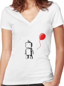 Robot Balloon Women's Fitted V-Neck T-Shirt