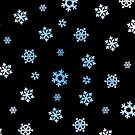 Snowflakes (Blue & White on Black) by Paul James Farr