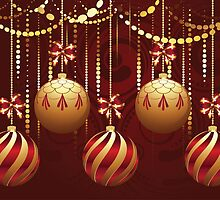 Decorative Gold Xmas Balls 9 by AnnArtshock