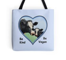 Holstein Cow and Calf Vegan Blue Heart Tote Bag