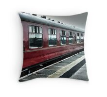 """""""Hogwarts Express"""" in the rain @ Mallaig, Scotland Throw Pillow"""