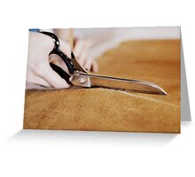 Cutting leather. Greeting Card