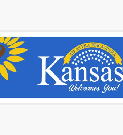 Kansas Welcomes You, Road Sign, USA Sticker