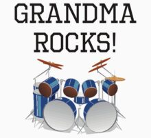 Grandma Rocks Drums Kids Tee