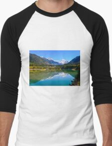 Lake Revelstoke  mountain view  Men's Baseball ¾ T-Shirt