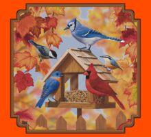 Autumn Birds and Bird Feeder Kids Tee