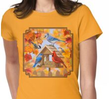 Autumn Birds and Bird Feeder Womens Fitted T-Shirt