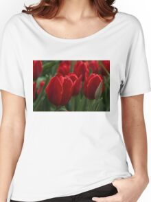 Vibrant Red Spring Tulips Women's Relaxed Fit T-Shirt