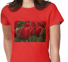 Vibrant Red Spring Tulips Womens Fitted T-Shirt