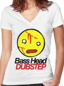 Bass Head Dubstep  Women's Fitted V-Neck T-Shirt