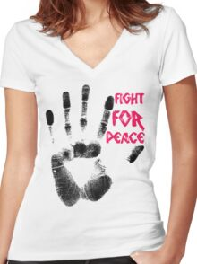 Fight for Peace Women's Fitted V-Neck T-Shirt