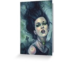 Graveyard Dust - Gothic Witch in Cemetery Greeting Card