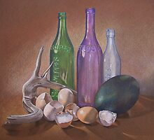 Old Bottles, Egg Shells and Driftwood by Jan Lawnikanis