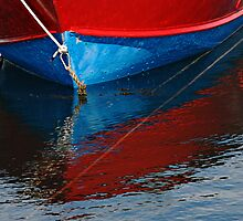Red and Blue Boat Reflections by Gerda Grice