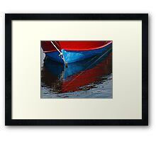 Red and Blue Boat Reflections Framed Print