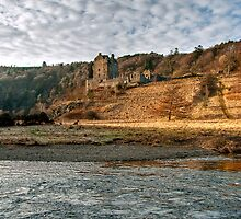 Looking Over Towards Neidpath Castle by Christine Smith