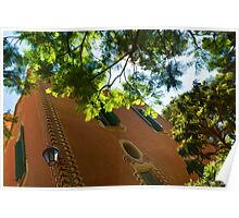 Whimsical  Building Through the Trees - Impressions Of Barcelona Poster