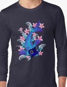 Blue Koi-Pink Flowers Long Sleeve T-Shirt