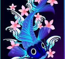 Blue Koi-Pink Flowers Poster by Lotacats
