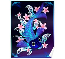 Blue Koi-Pink Flowers Poster Poster