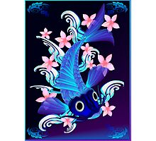 Blue Koi-Pink Flowers Poster Photographic Print