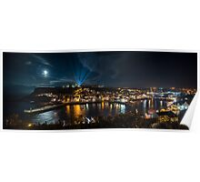 Whitby at Night Panoramic Poster
