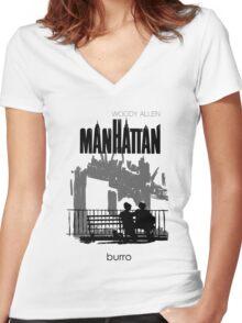 Woody Allen's Manhattan - illustration Women's Fitted V-Neck T-Shirt
