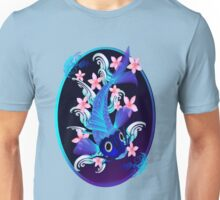 Blue Koi-Pink Flowers Oval Unisex T-Shirt