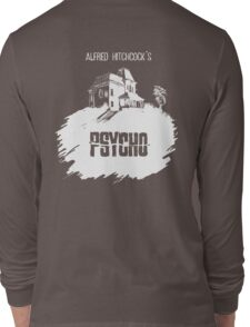 Alfred Hitchcock's Psycho by Burro! (black tee version) Long Sleeve T-Shirt