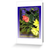 Rose and Chrysanthemums Birthday Card Greeting Card