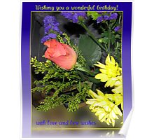 Rose and Chrysanthemums Birthday Card Poster