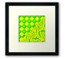 Green and Yellow Butterfly Design Framed Print
