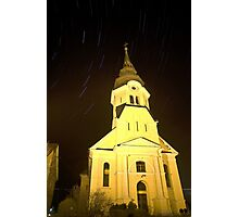 Star trails behind Vodice Church Photographic Print