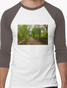 Dreamy Forest Road With Flowers - Impressions Of Spring Men's Baseball ¾ T-Shirt
