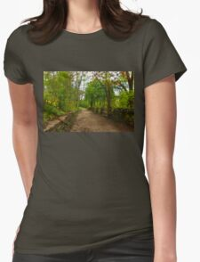 Dreamy Forest Road With Flowers - Impressions Of Spring Womens Fitted T-Shirt