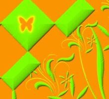 Green and Orange Butterfly Design  Sticker