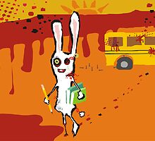 zombie bunny rabbit school bus september calendar by BigMRanch