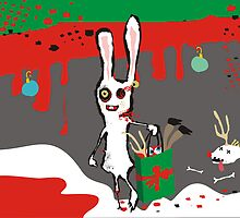 zombie bunny rabbit eating reindeer brains december calendar by BigMRanch