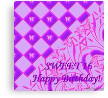 Pink and Purple Butterfly Sweet 16 Canvas Print