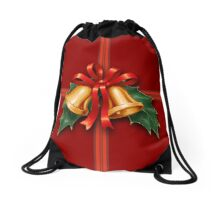 Christmas Holly Bells and Red Ribbon Drawstring Bag