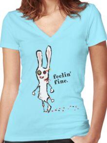 zombie bunny rabbit feelin fine t-shirt Women's Fitted V-Neck T-Shirt